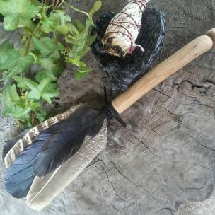 Handmade Oak & English Crow & Pheasant Feather Smudge Fan