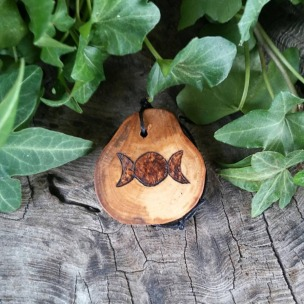 Pyrographed Apple Slice with Triple Moon